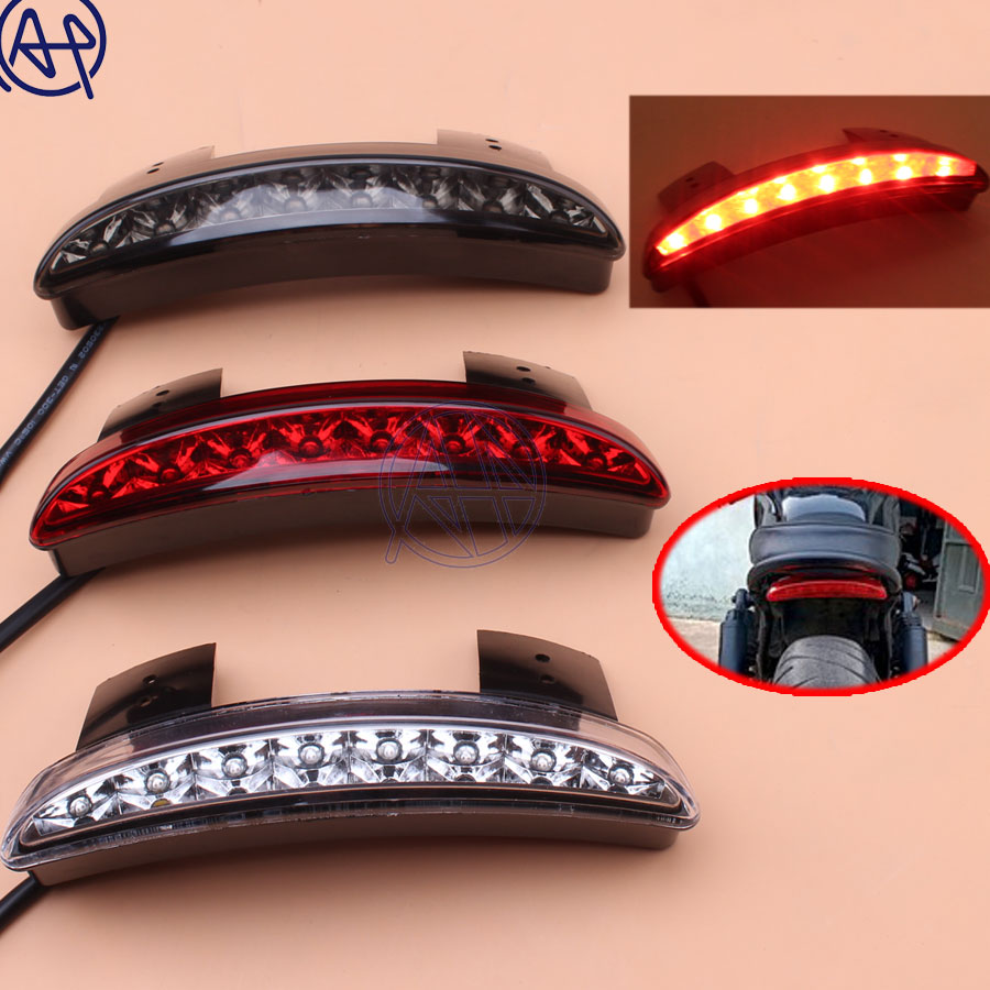 1pcs Motorcycle Rear Fender Edge <font><b>LED</b></font> Tail Warning Stop Light Smoke/Red/Clear Lens For Harley Iron <font><b>883</b></font> XL883N XL1200N Chopped image