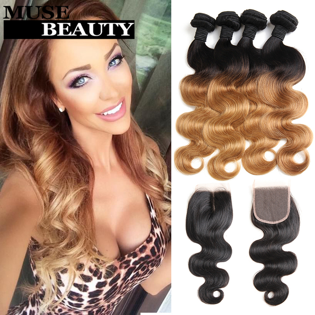 10A Ombre Brazilian Virgin Hair Body Wave With Closure Rosa Hair Products 1B 27 Ombre Brazilian Hair With Closure Body Wave 5pcs