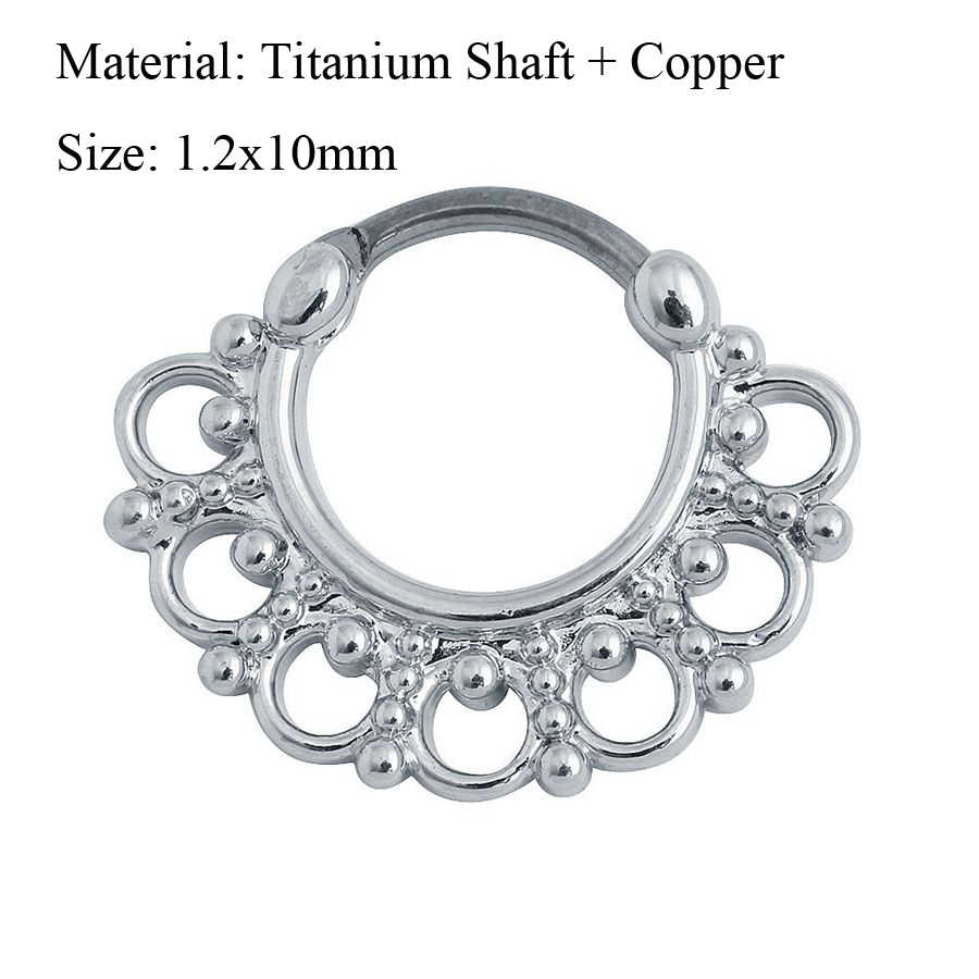 Large Silver Ion Plated Fan Round Septum Ring Clicker Aurora Borealis Gems
