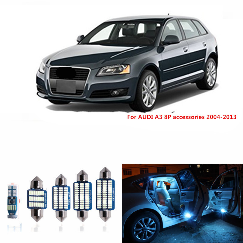 12pcs Canbus Error Free LED Interior Light Kit Package for AUDI A3 8P accessories 2004-2013 Dome Reading lights white ice blue 15pc x 100% canbus led lamp interior map dome reading light kit package for audi a4 s4 b8 saloon sedan only 2009 2015