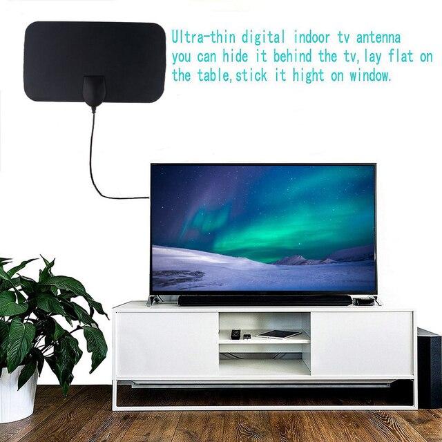 kebidumei High Quality 4K 25dB High Gain HD TV DTV Box Digital TV Antenna 50 Miles Booster Active Indoor Aerial HD Flat Design 6