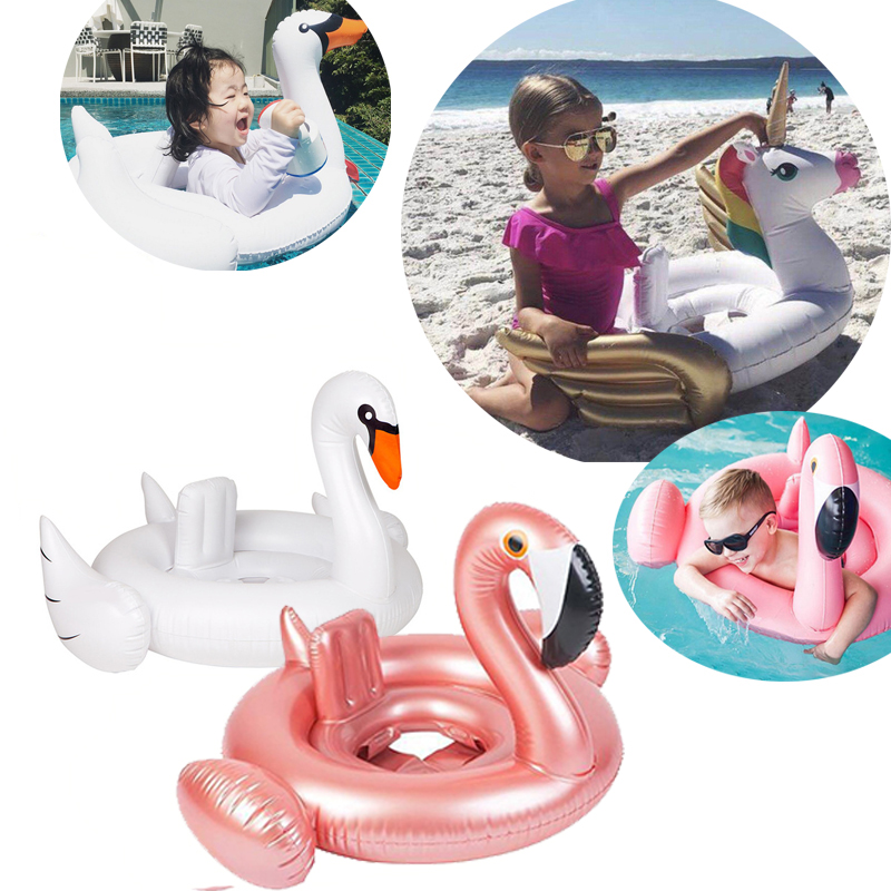 16 Styles Inflatable Flamingo Baby Float Ring Summer Water Pool Baby Ring Swan Unicorn Crab Inflatable Baby Seat Water Pool Toys