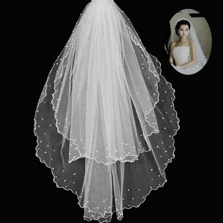 Double Layer Handmade Beads Bridal Veil Multilayer Veil