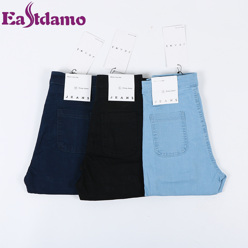 Eastdamo Slim Jeans For Women Skinny High Waist Jeans Woman Blue Denim Pencil Pants Stretch Waist
