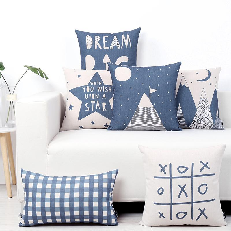 Nordic Style Kids Decoration Blue Pillow Bear Geometric Landscape Triangle Dots Lattice Pentagram Letters Linen Cushion For Home