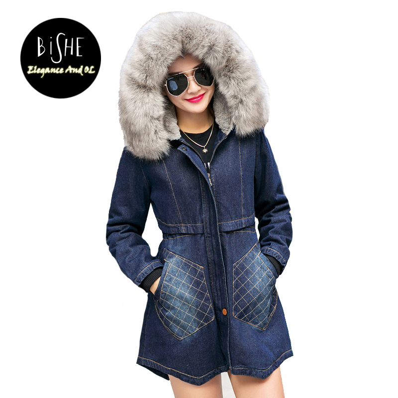 BiSHE Spring Autumn Winter New 2017 Fur Jean Denim Jacket Winter Blue Women Jacket Coat With Hooded Long Sleeves Warm Outwear