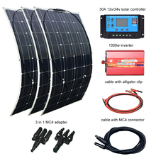 3*100W 300w solar panel system adapter 12v/24v/30A controller DIY kit module cable 110v ~ 230V 1000w inverter Solpanel
