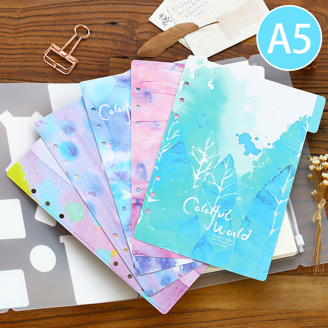 Creative colored dividers for spiral notebooks,cute cartoon school