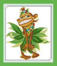 Funny monkey cross stitch kit cartoon 11ct count canvas stitches embroidery DIY handmade needlework plus(China)