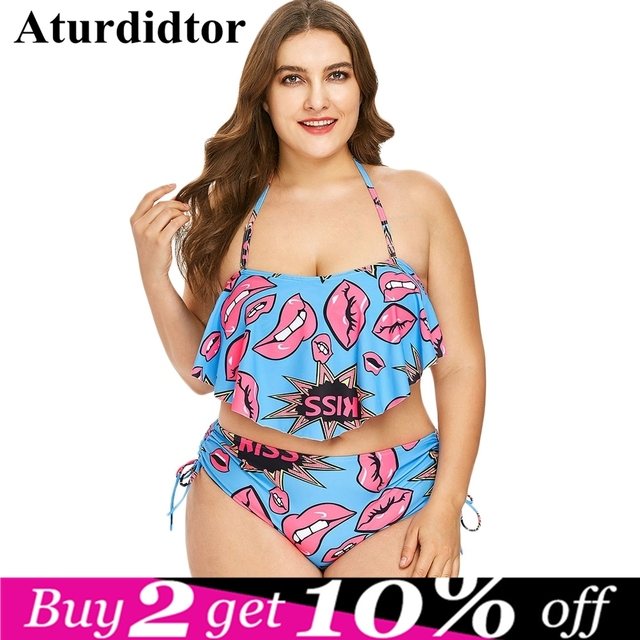 68c2773c49dda Plus Size Halter Lips Print Ruffle Bikini Set Sexy Swimsuit Women Swimwear  Bathing Suit Push Up