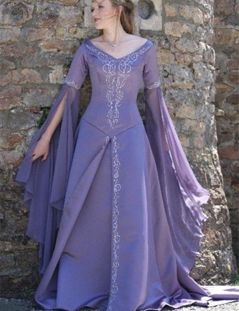 MZYW07 Medieval Purple Long Sleeves Wedding Dresses ...