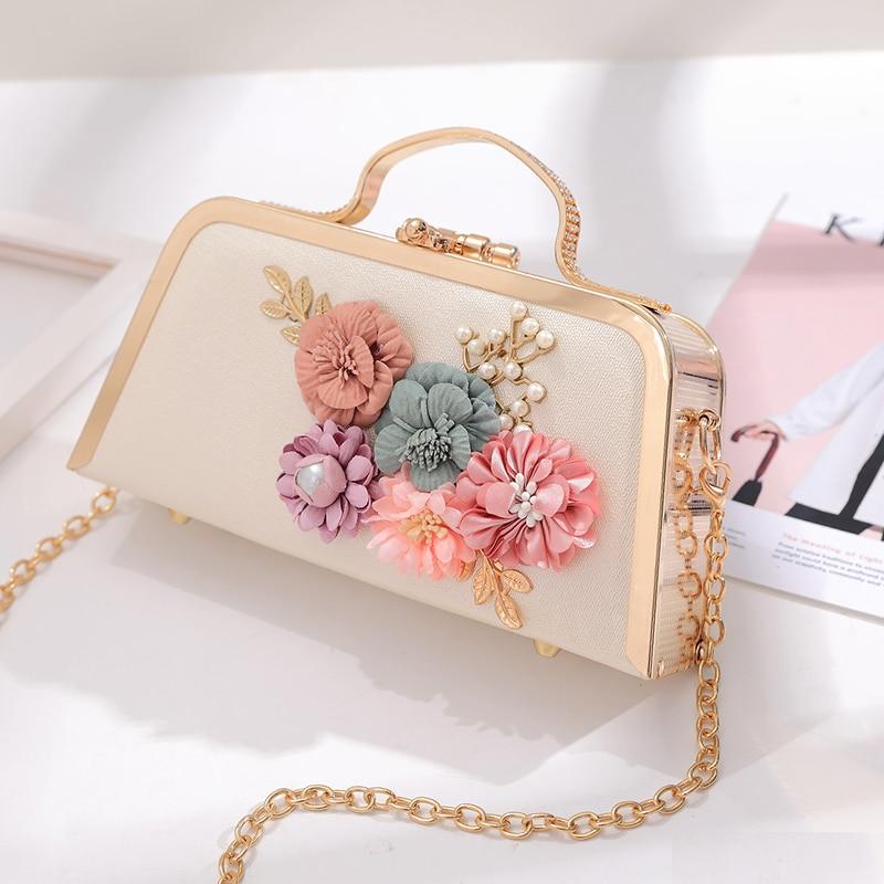 Lyudmyla White Wedding Bags For Bride Luxury Metal Frame Handbag Women Gold Garden Party Bag 2017 New Lady Chain Fl Hand In Shoulder From
