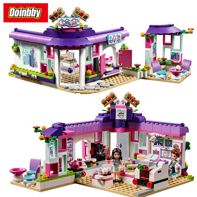 Girl Friends Emma's Art Cafe Heartlake City Park Building Block Toys Compatible with Legoings Friends 41336 10556 heartlake friends space ship amusement park model building kits block girls toys compatible legoes friends gift kid set