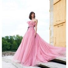 Verngo Pink Tull Evening Dress Elegant Gown Formal Custom Made Vestido Longo Festa Dresses Long