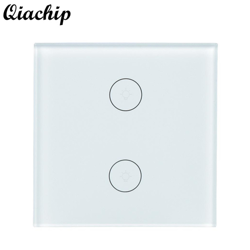 QIACHIP EU Plug 2 Gang 1Way WiFi Smart Home Switch Wireless Light Lamp Wall Touch Switch Work With Amazon Alexa Google Home qiachip uk plug wifi smart 1 2 3 gang light wall panel switch app control work with amazon alexa google home push button switch