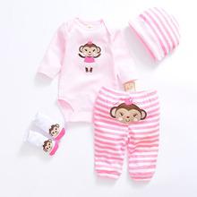Urocza małpka zestawy ubrań dla niemowląt bawełniane ubrania chłopięce garnitur noworodka dziewczynka garnitur 4 sztuk z długim rękawem body niemowlęce + spodnie + skarpetki + czapka tanie tanio NoEnName_Null Moda Bawełna Suknem REGULAR O-neck Unisex Płaszcz cotton Pasuje prawda na wymiar weź swój normalny rozmiar