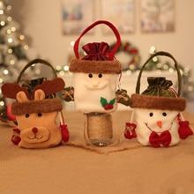 Рождественский Санта Клаус Конфеты подарочные сумки сумочка мешок свадебный мешок подарок мешок Рождественский Декор Санта-Клаус мешок шоколада 762818