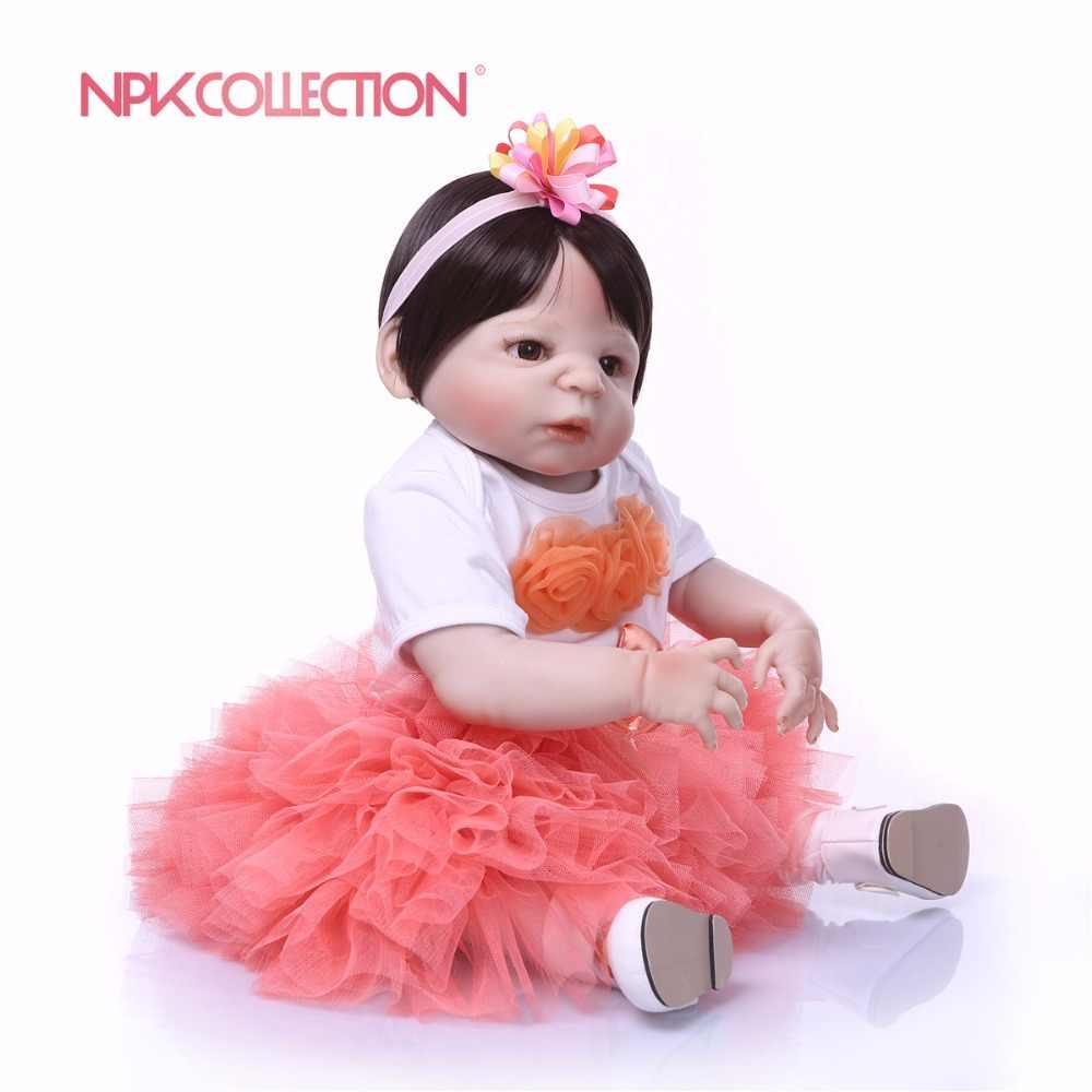 NPK N 57 см полное тело силиконовые девочка Reborn игрушечные пупсы, куклы принцесса Младенцы волосы для куклы подарок на день рождения Дети Brinquedos
