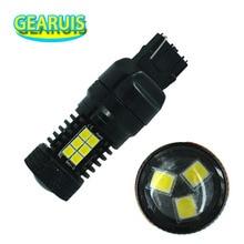 2 adet yüksek kaliteli 8 W Canbus polar olmayan 7440 7441 7443 7444 T20 W21W 21 SMD 2835 LED Lens ters yedek ışık Dönüş sinyal ışıkları