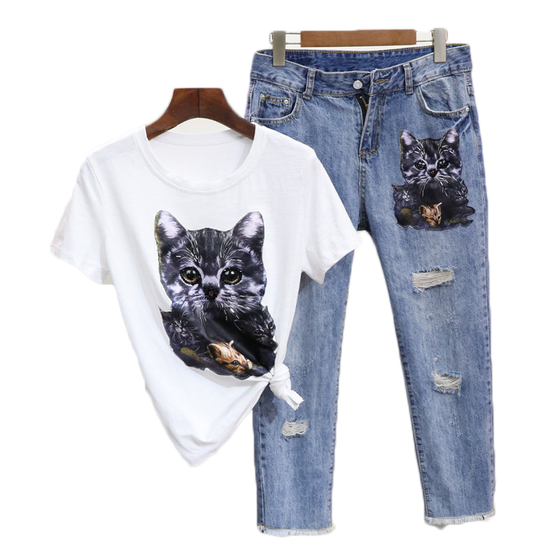 2018 vestidos Spring 2 pieces suits Cartoon cat sequins crane tshirt tops + jeans pants set Women 2 pieces set