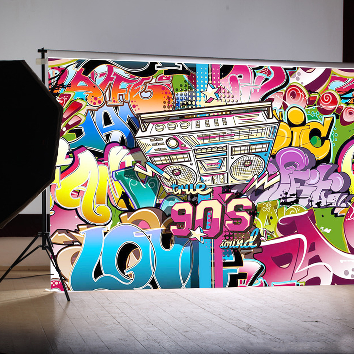Freya 210x150cm vinyl photographic background 90s hip hop backdrop party themed decoration for photography studio