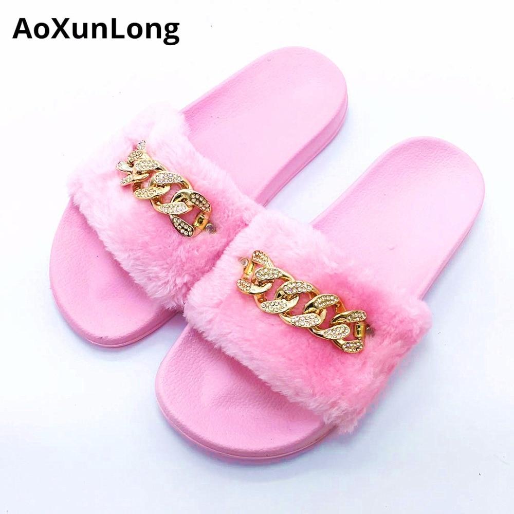 AoXunLong Slippers Vrouwen Bont Slide Home Slippers Mode Diamant - Damesschoenen