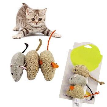 3 Pcs cute mouse interactive chewing toy plush pet supplies cat toy random color
