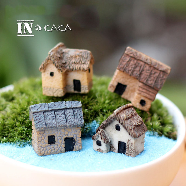 Cute Mini Artificial House Home Micro Fairy Garden Sculpture Figurines Miniatures Terrarium Decor Ornaments Diy