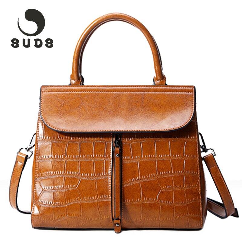 купить SUDS New Genuine Leather Bags For Women 2017 Vintage Solid Women's Crossbody Handbag Shoulder Bag Female Zipper Famous Brand по цене 1969.06 рублей