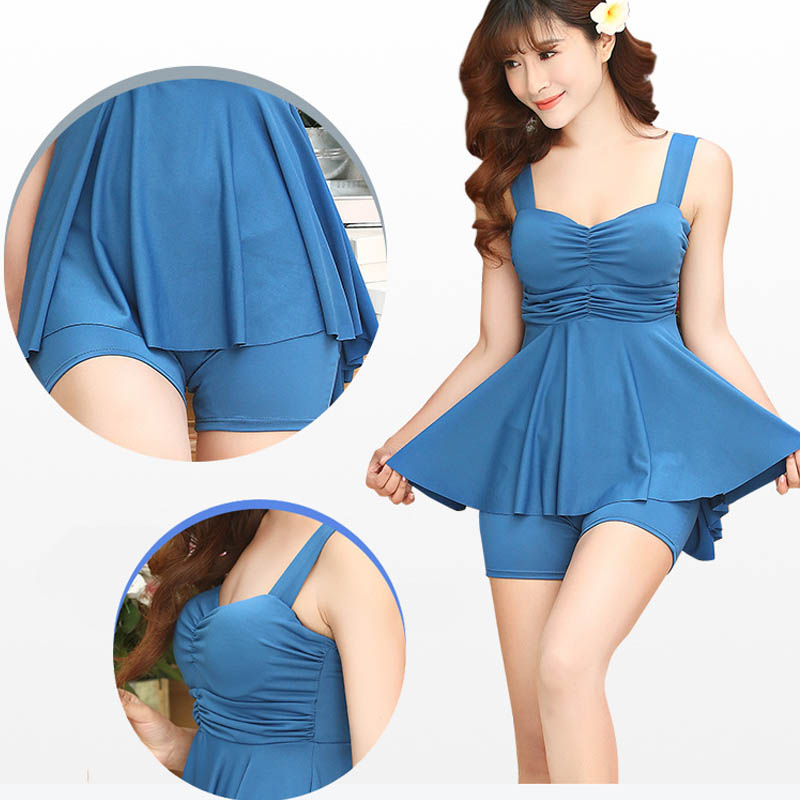 Beach Summer Sundress Solid Color Skirted Cute Tankini Bathing Suits