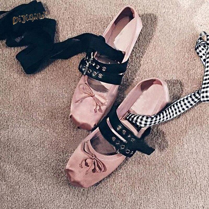 cd3f23e5c9f02b Papillon 7 Dijigirls Arc Pour Up Conception Marque Ceinture Plat Bandage  Ballet 5 4 3 6 Doux Femmes Chaussures 10 Même Femme Laçage Boucle ...