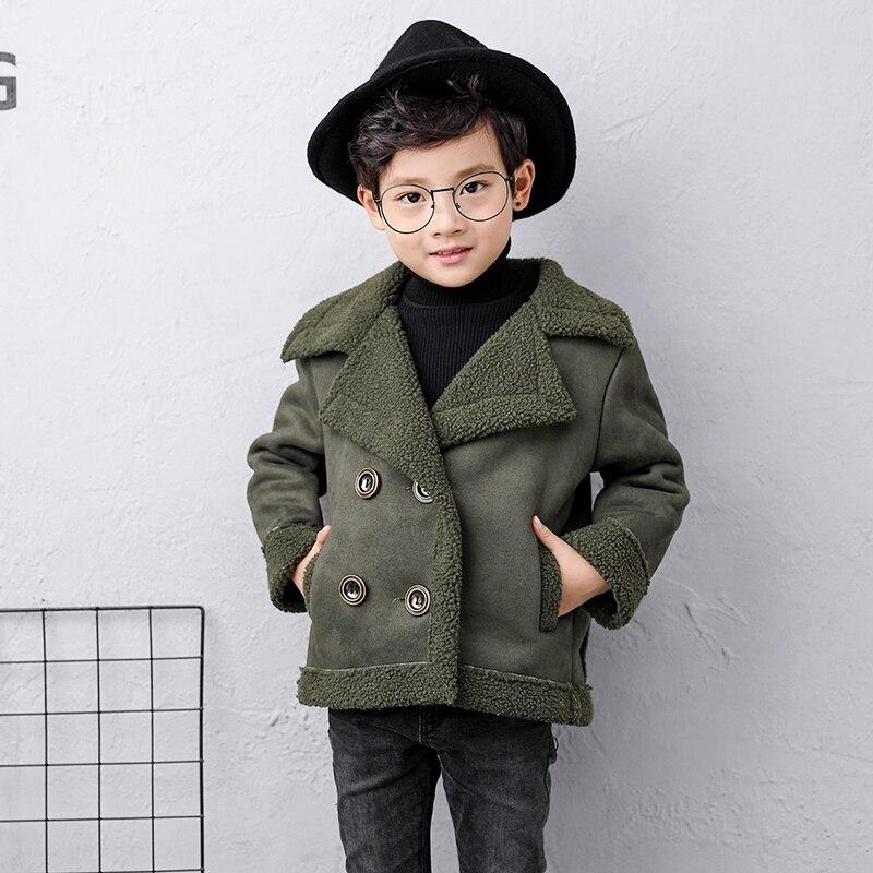 Кашемировое пальто для маленьких девочек; коллекция года; модная зимняя куртка с отложным воротником для девочек; костюм; хлопковая одежда для детей; 7jk027 - Цвет: Зеленый