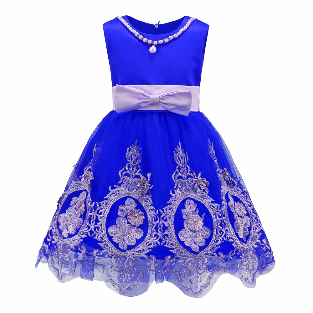 2017 Embroidered Flower Bow Tie Girl Dress Summer Tulle Party Princess Girls Dress Wedding Pageant Dresses Ball Gown Size 3-12 flowers embroidered retro bow tie