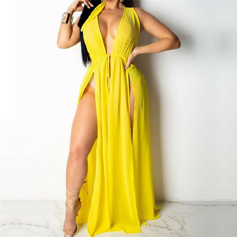 Women Beach Bikini Cover Up Boho Party Clothes Sun Long Dress Sundress Saida De Praia Feminino 2019 High Split Ladies Dresses