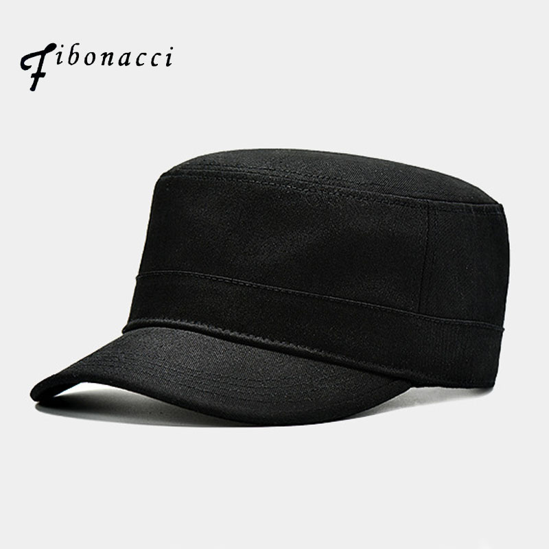e12c9267b US $8.33 15% OFF|Fibonacci High Quality Black Military Cap Cotton Flat Top  Men Tactical Army Hat-in Men's Military Hats from Apparel Accessories on ...