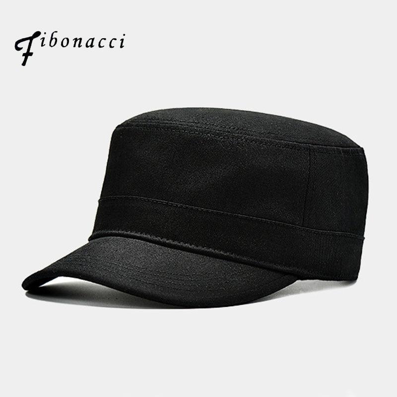 Fibonacci High Quality Black Military Cap Cotton Flat Top Men Tactical Army Hat