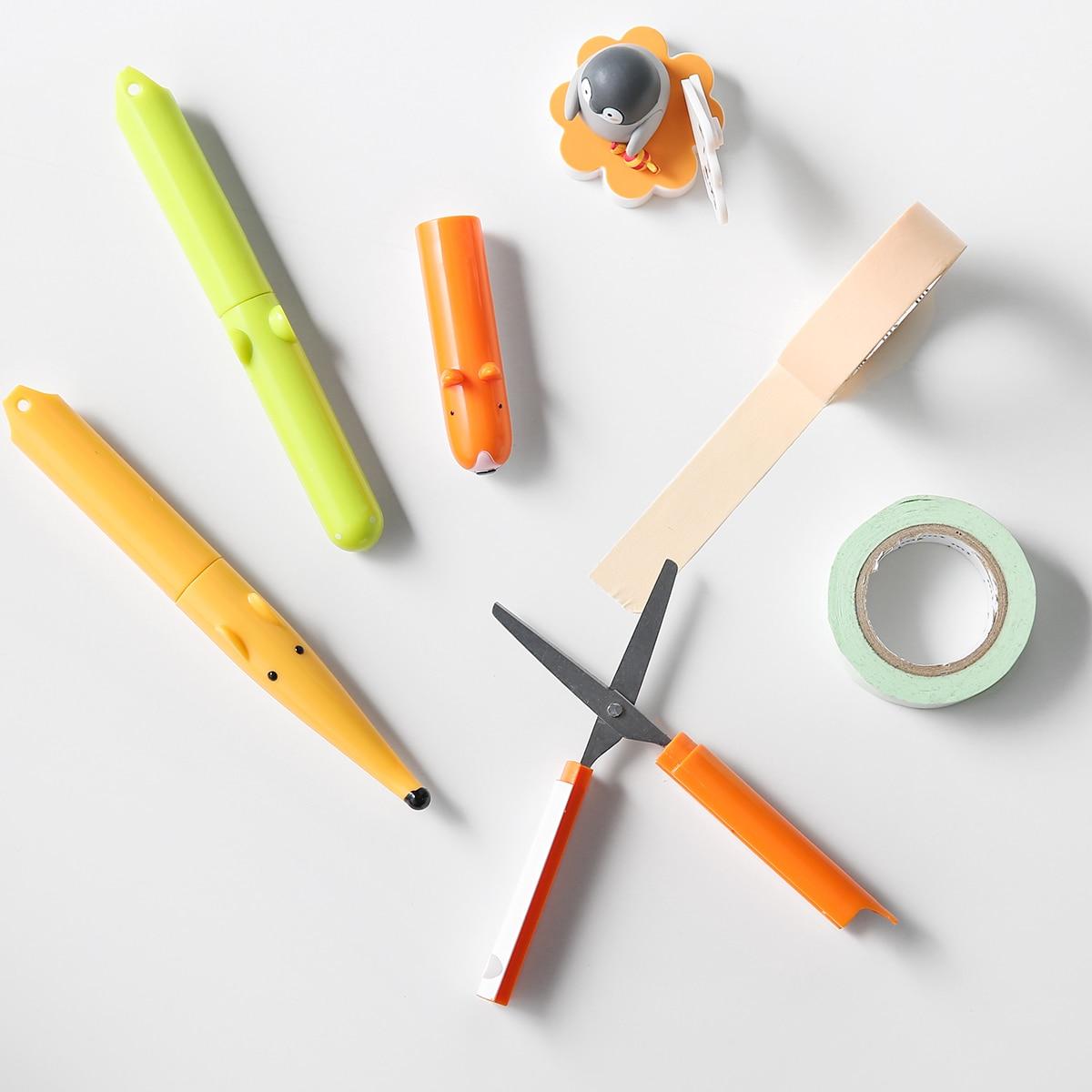 Animal Garden Creative Design Folder Scissors Safe Protecion Case Portable Scissors Pen