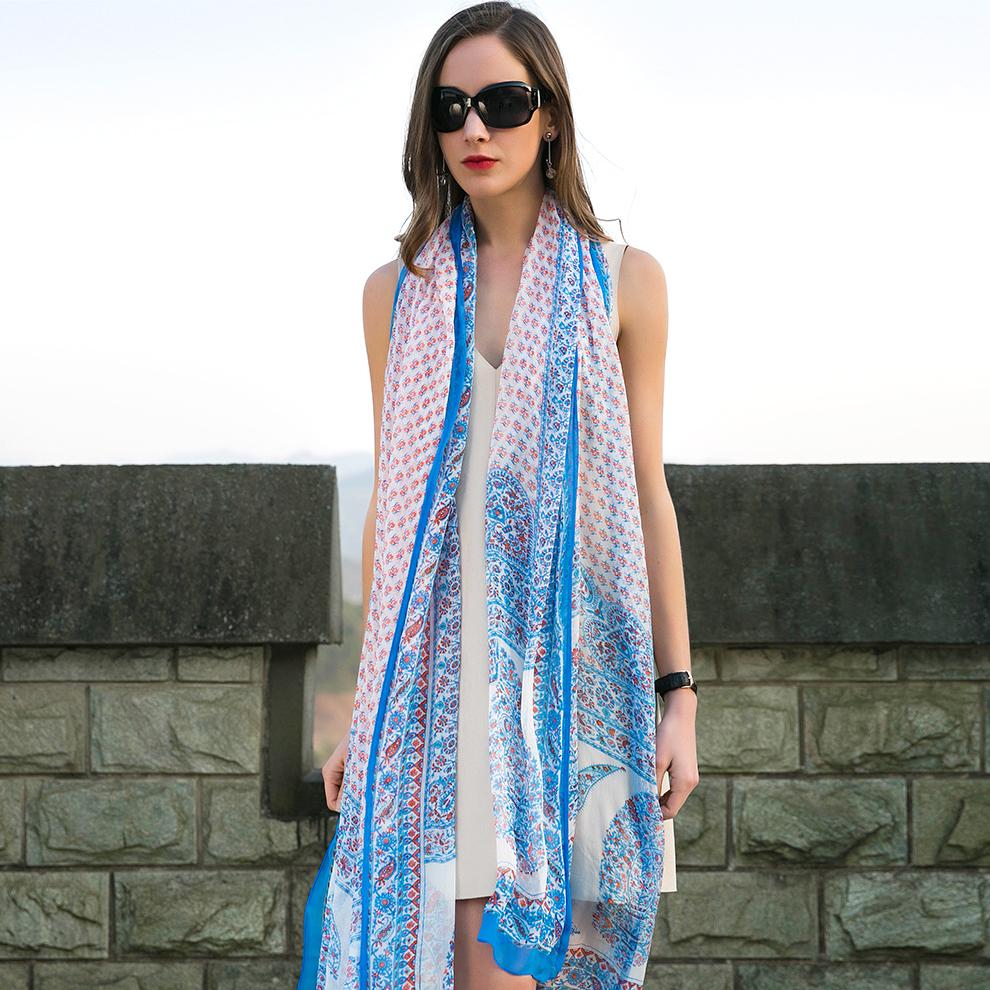 e4db8ec11a73 Aliexpress.com   Buy New Silk Hijab Scarves Summer Wear Beach Cover Up Pareo  Sarongs Bikini Dress Scarf Wrap Foulard 110 245cm Bandana Face Shield from  ...