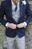 5Pieces Light Gray Pant Vent Navy Bule Jacket Tie Handkerchief Notch Lapel Two Buttons Formal High