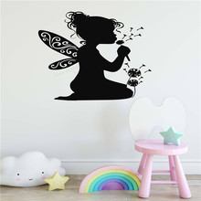 Wall Art Sticker Fairy Girls Kids Room Decal Vinyl Removeable Bedroom Decoration Beauty Ornament Dandelion Makeover Poster LY482
