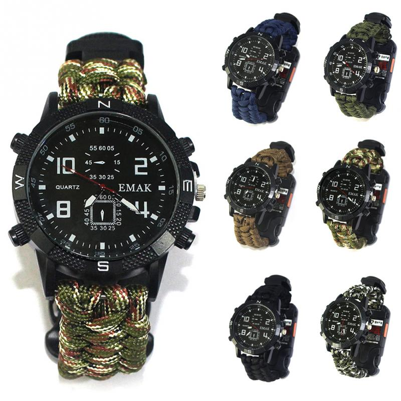 aeProduct.getSubject()  EDC Tactical multi Outside Tenting survival bracelet watch compass Rescue Rope paracord gear Instruments package HTB1Cy