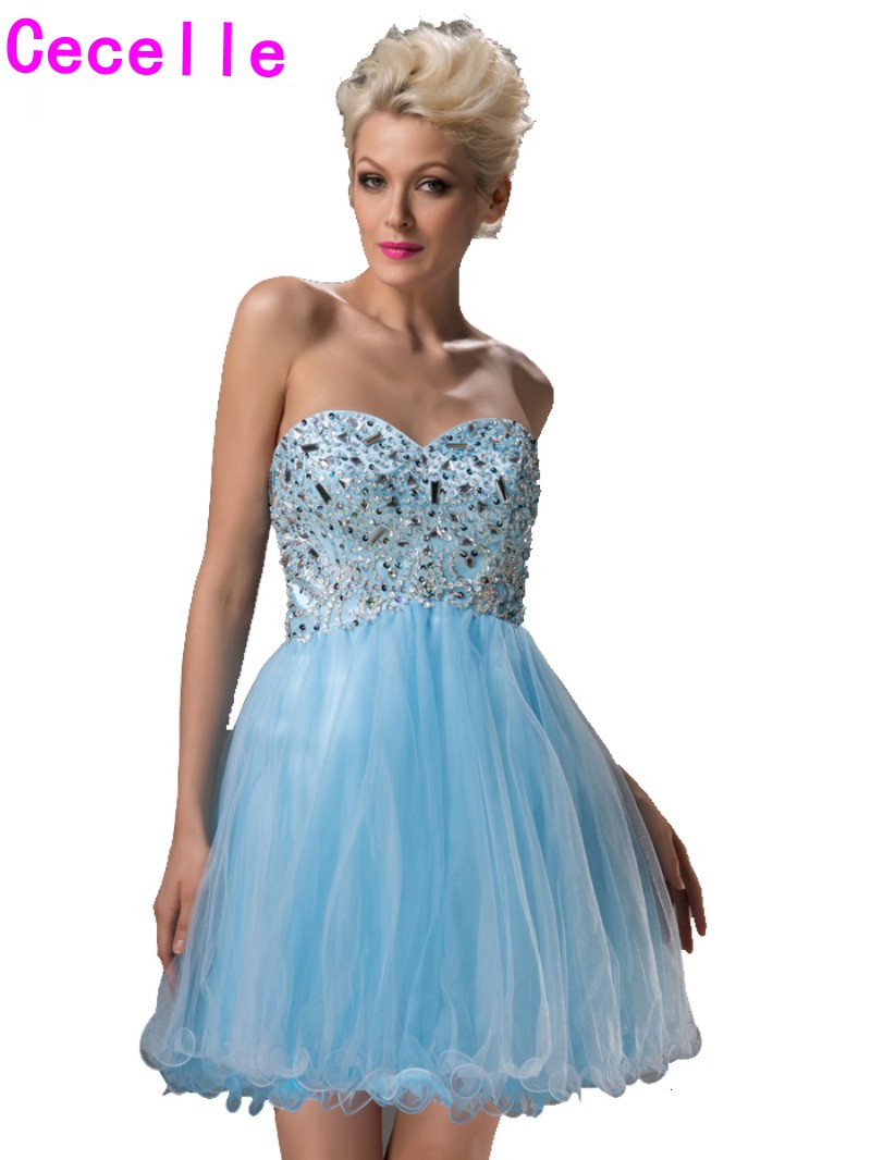Real Petite Blue Juniors Homecoming Gowns 2017 Short A line Beaded ...
