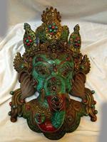 15 Tibet resin turquoise gem Buddhism elephant buddha mask Sculpture Statue