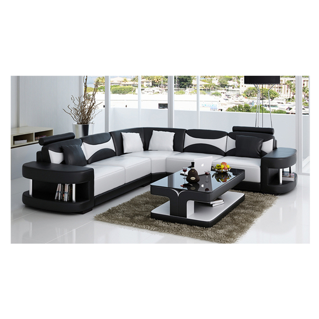 Wholesale living room furniture cheap leather corner sofa set 7 seater sectional sofa with Led light 3