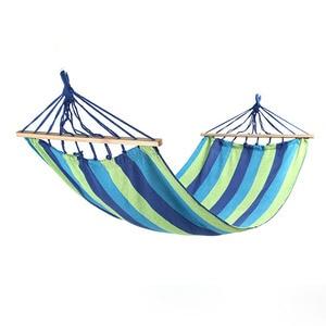Image 4 - 260*80cm Cavans Hammock Portable Outdoor Play Leisure Hammock Garden Home Travel Camping Swing Canvas Stripe Hanging Bed Hangmat
