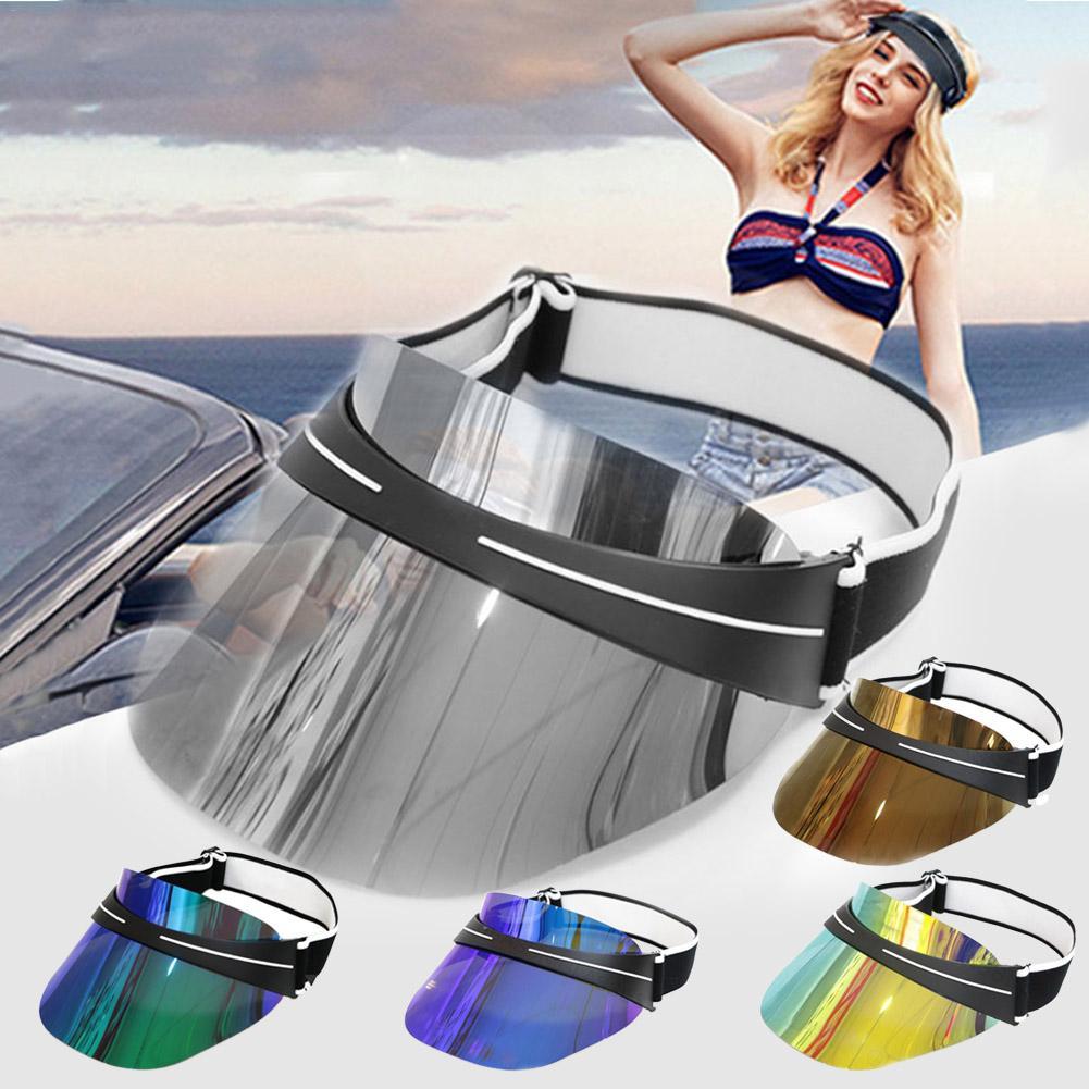2019 Women's Caps Visor Women Men Sun Hat Transparent Plastic PVC Sunshade Hat Visor Caps Bicycle Sunhat Wholesale