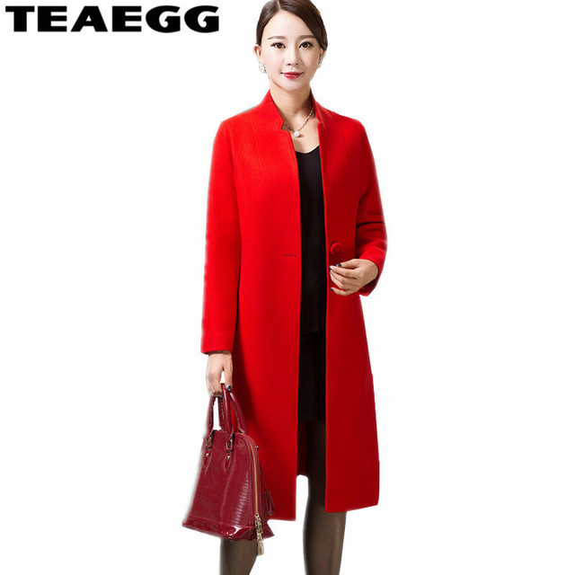 80375284b38d4 TEAEGG Elegant Wool Blend Red Coat Long Spring Autumn Women s Jackets  Woolen Coat Female Jacket Casaco Feminino Plus Size AL167