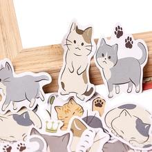 45pcs/pack Naughty Cartoon Cat Student Envelope Sticker Box Diy Diary Decoration Label Scrapbooking