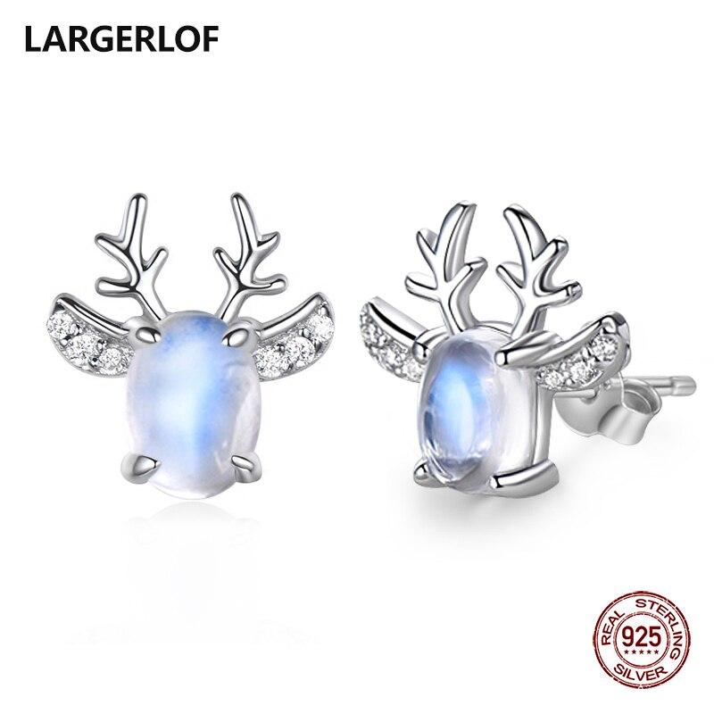 LARGERLOF Echt 925 Sterling Silber Mondstein Ohrringe Frauen Edlen Schmuck Weihnachten Stud Ohrringe Für Frauen ED49113
