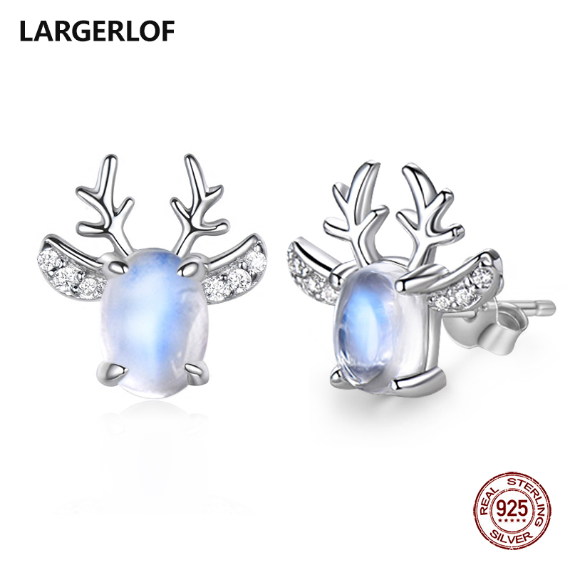 LARGERLOF Real 925 Sterling Silver Moonstone Earrings Women Fine Jewelry Christmas Stud Earrings For Women ED49113 copper jewelry leopard head hanging pearl stud earrings tiger head green rhinestone black stud earrings for women